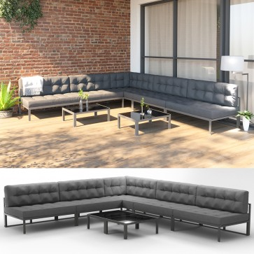 xxl alu lounge gartenm bel inkl palettenkissen gartenlounge sitzgarnitur sitzgruppe grau. Black Bedroom Furniture Sets. Home Design Ideas