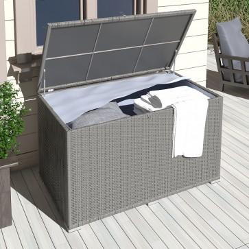 XXL Kissenbox 950L Anthrazit Polyrattan wasserdicht Auflagenbox Gartenbox Gartentruhe Aufbewahrungsbox