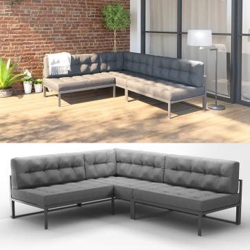 Alu Lounge Gartenmöbel Set inkl. Palettenkissen Gartenlounge Sitzgarnitur Sitzgruppe Grau