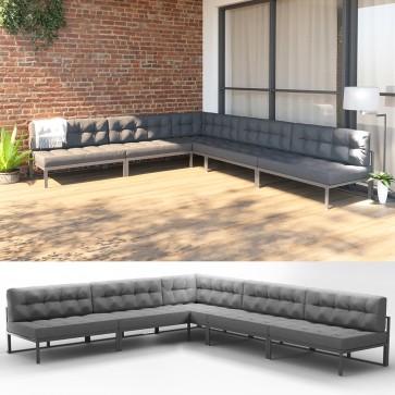 XXL Alu Lounge Gartenmöbel Set inkl. Palettenkissen Gartenlounge Sitzgarnitur Sitzgruppe Grau