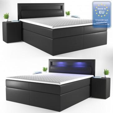 Boxspringbett 180 x 200 mit LED schwarz