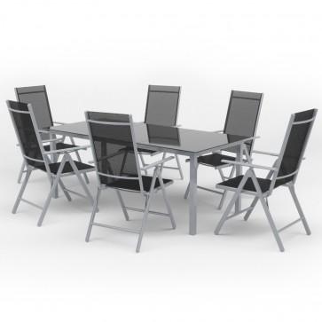 Alu Gartenmöbel 6+1 Sitzgruppe 190er Tisch Gartengarnitur