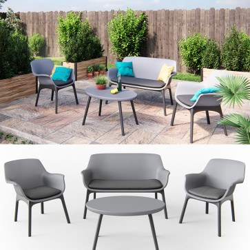 Gartenmöbel Lounge Set Sitzgarnitur Sitzgruppe Balkonmöbel Kunststoff anthrazit