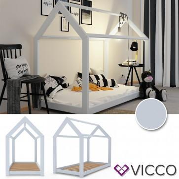 VICCO Hausbett Kinderhaus Kinderbett WIKI 90x200cm Holz Grau