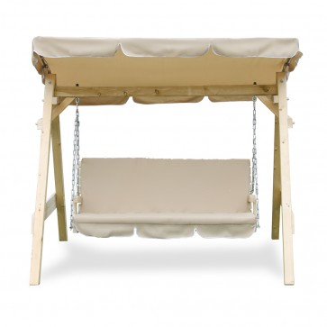 Hollywoodschaukel Audrey Beige massiv Holz