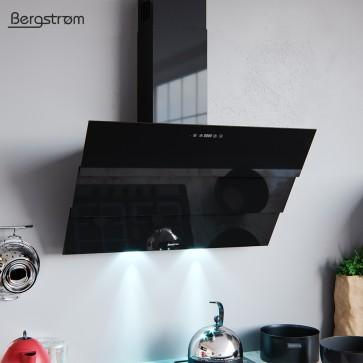 BERGSTROEM ROLLO Dunstabzugshaube Glas LED Wandhaube Schräghaube kopffrei Fernbedienung (90 cm, schwarz)