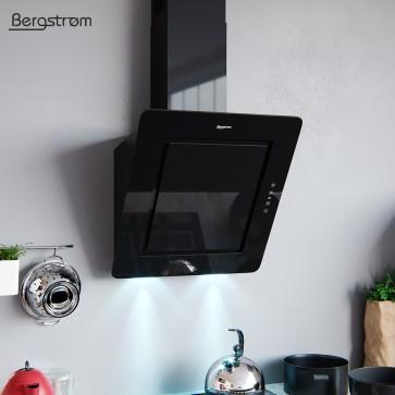 BERGSTROEM IVAR Dunstabzugshaube Glas LED Wandhaube Schräghaube kopffrei Fernbedienung (60 cm, schwarz)