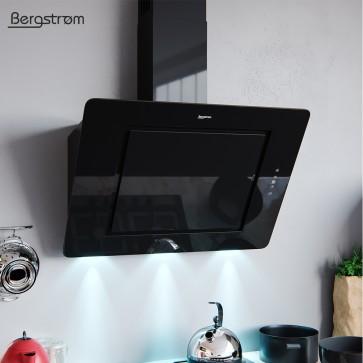 BERGSTROEM IVAR Dunstabzugshaube Glas LED Wandhaube Schräghaube kopffrei Fernbedienung (90 cm, schwarz)