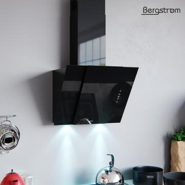 BERGSTROEM Bjoern Dunstabzugshaube Glas LED Wandhaube Schräghaube kopffrei Fernbedienung (60 cm, schwarz)