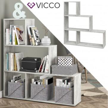 VICCO Treppenregal ASYM Beton 4 Fächer