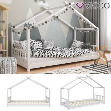 Vicco Hausbett Kinderhaus Kinderbett Design 90x200cm Holz Weiss