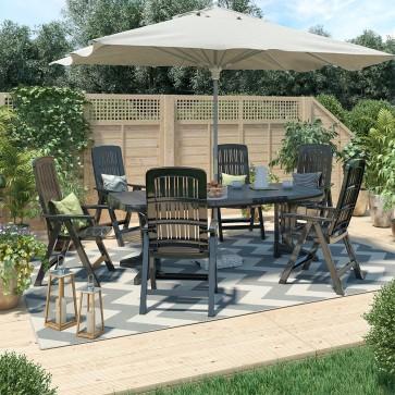 Gartenmöbel 6+1 Sitzgruppe Tisch 220 x 95 cm Gartengarnitur Gartenset Sitzgarnitur Kunststoff Set