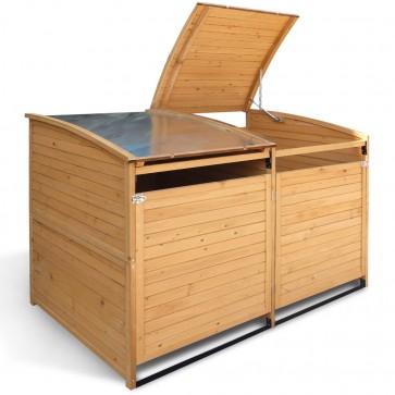 Holz Mülltonnenbox 240 L + 2x Anbaubox