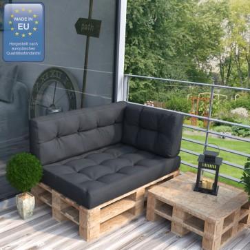 Palettenkissen Set Sitz+Rücken+Seitenkissen anthrazit