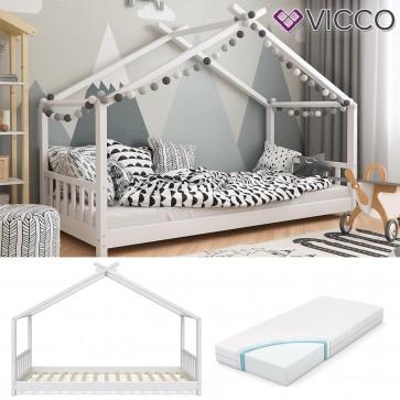 VICCO Hausbett Kinderhaus Kinderbett DESIGN 90x200cm Holz Weiß inkl. 7-Zonen Kaltschaummatratze