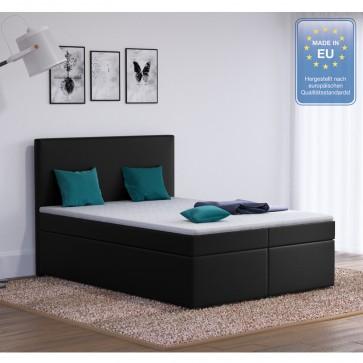 Boxspringbett Stoff schwarz 140 x 200