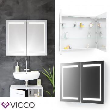 VICCO LED Spiegelschrank Weiß (80 cm)
