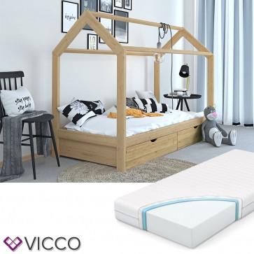 VICCO Hausbett Kinderhaus Kinderbett WIKI 90x200cm mit Schubladen Holz natur inkl. 7-Zonen Matratze