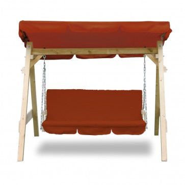 Hollywoodschaukel Audrey Rot-orange massiv Holz
