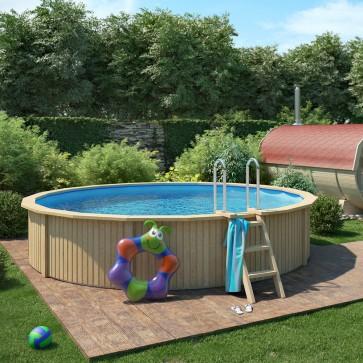 CASPIAN Holzpool Pool mit Stahlwand inkl. Filterpumpe 460x90cm