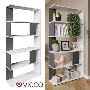VICCO Raumteiler Raumtrenner Bücherregal Standregal Aktenregal Hochregal Aufbewahrung Regal Anthrazit (groß)