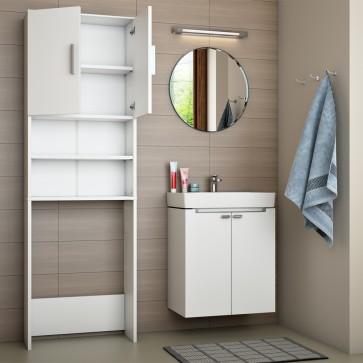 Waschmaschinenschrank Badregal 190x60cm Weiß
