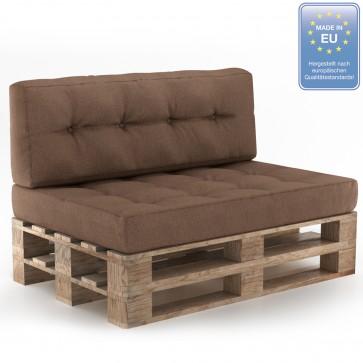 Palettenkissen Set Sitz+Rückenkissen+Rückenlehne Taupe