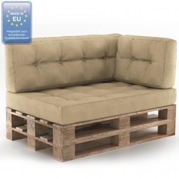 Palettenkissen Set Sitz+Rücken+Seitenkissen+Lehnen Beige