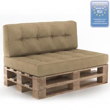 Palettenkissen Set Sitz+Rückenkissen+Rückenlehne Beige