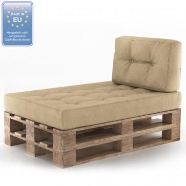 Palettenkissen Set Sitz+Seitenkissen+Seitenlehne Beige