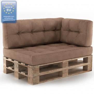 Palettenkissen Set Sitz+Rücken+Seitenkissen Taupe
