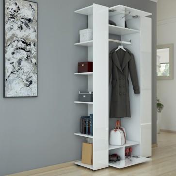 Dielenschrank mit Garderobe Weiß / Hochglanz