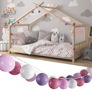VICCO Lichterkette Cotton Balls Girlande weiß, pink, rosa und lila 310 cm