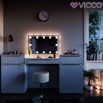 Vicco Schminktisch Lilli weiß mit Hocker und LED-Lichterkette