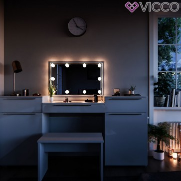 Vicco Schminktisch Lilli weiß mit Bank und LED-Lichterkette