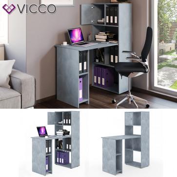 VICCO Schreibtisch Regalkombination 114 x 60 cm Grau Beton