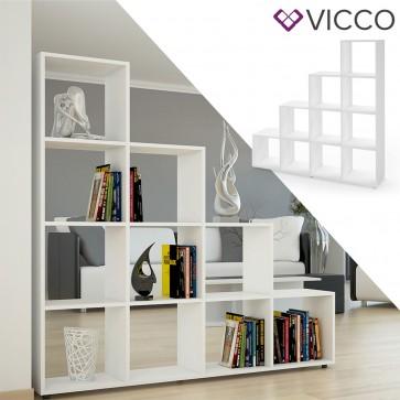 Vicco Treppenregal mit 10 Fächern Weiß