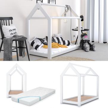 VITALISPA Kinderbett Kinderhaus weiß 70x140 cm Holz Spielbett Hausbett mit Matratze