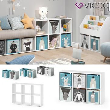 Vicco Kinderregal 6 Fächer inklusive Kinder Faltboxen