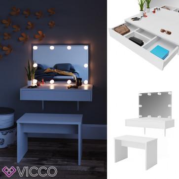 Vicco Schminktisch Alessia weiß mit Bank und LED-Lichterkette