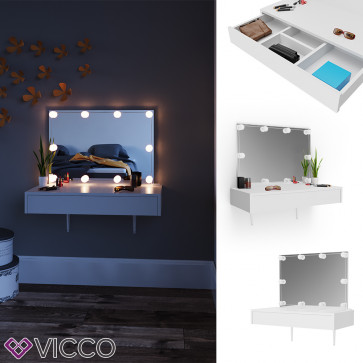 Vicco Schminktisch Alessia weiß mit LED-Lichterkette
