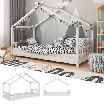 VITALISPA Hausbett Kinderhaus Kinderbett DESIGN 90x200cm Holz Weiß