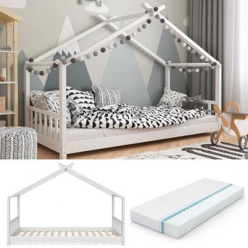 VITALISPA Hausbett DESIGN 90x200cm Weiß inkl. 7-Zonen Kaltschaummatratze