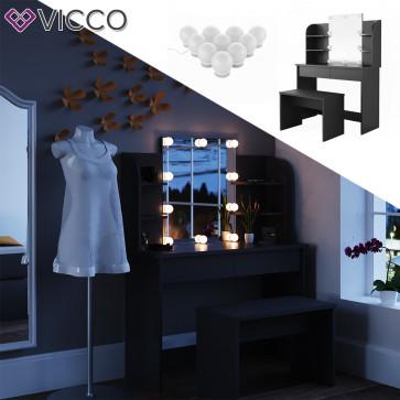 Vicco Schminktisch Charlotte schwarz mit Bank und LED-Lichterkette