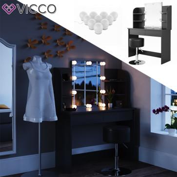 Vicco Schminktisch Charlotte schwarz mit Hocker und LED-Lichterkette