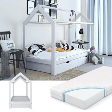 VITALISPA Hausbett WIKI 90x200cm mit Schubladen Holz Weiß inkl. 7-Zonen Matratze
