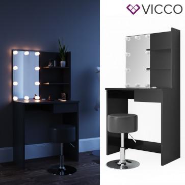Vicco Schminktisch Dekos Schwarz inklusive Hocker und LED-Lichterkette