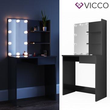 Vicco Schminktisch Dekos Schwarz inklusive LED-Lichterkette