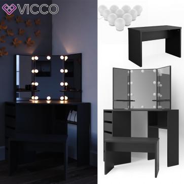 Vicco Eckschminktisch Arielle Schwarz inklusive Bank und LED-Lichterkette