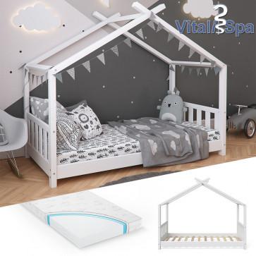 VITALISPA Hausbett DESIGN 80x160cm Holz Weiß mit Matratze